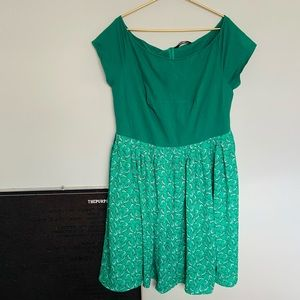 eShakti Green Off the Shoulder Fox Print Dress